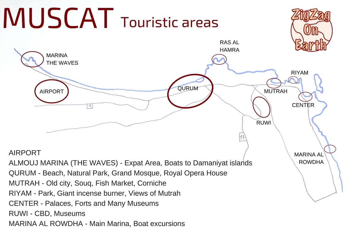 Map touristic areas Muscat Oman things to do